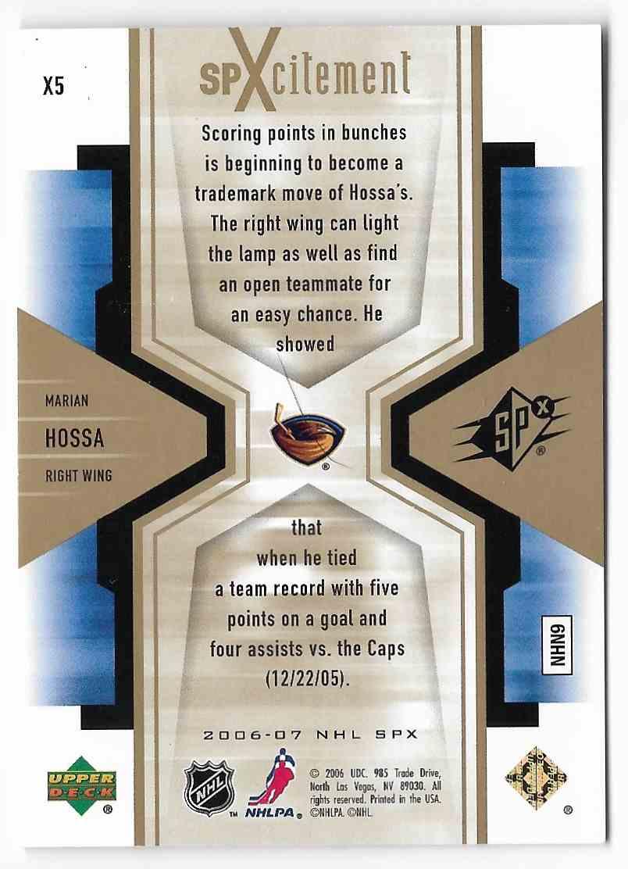 2006-07 Upper Deck SPx Marian Hossa #X5 card back image