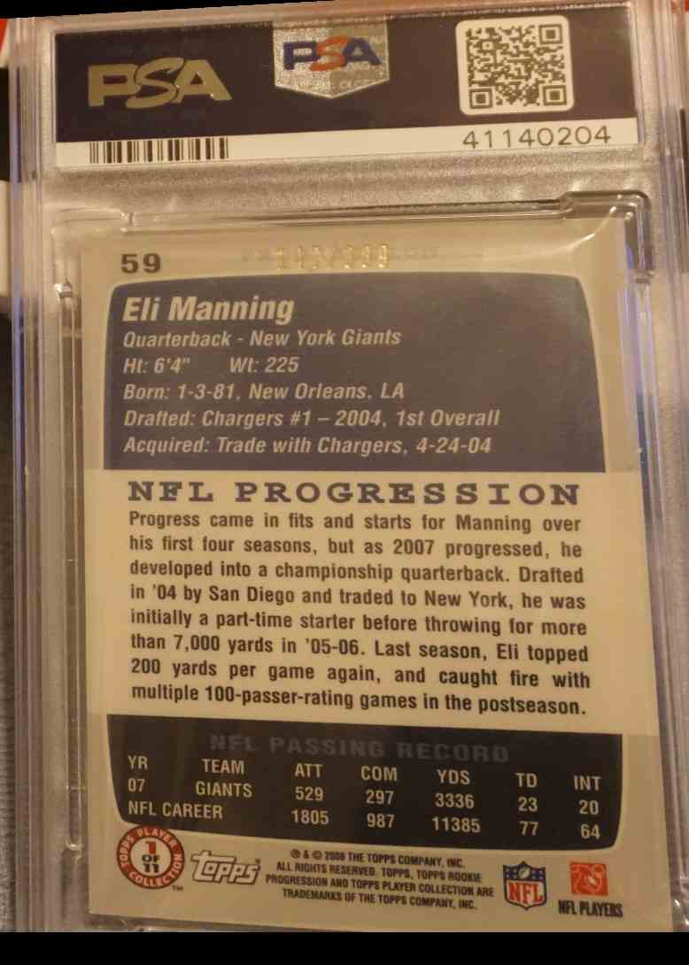 2008 Topps Rookie Progression PSA DNA Eli Manning card back image