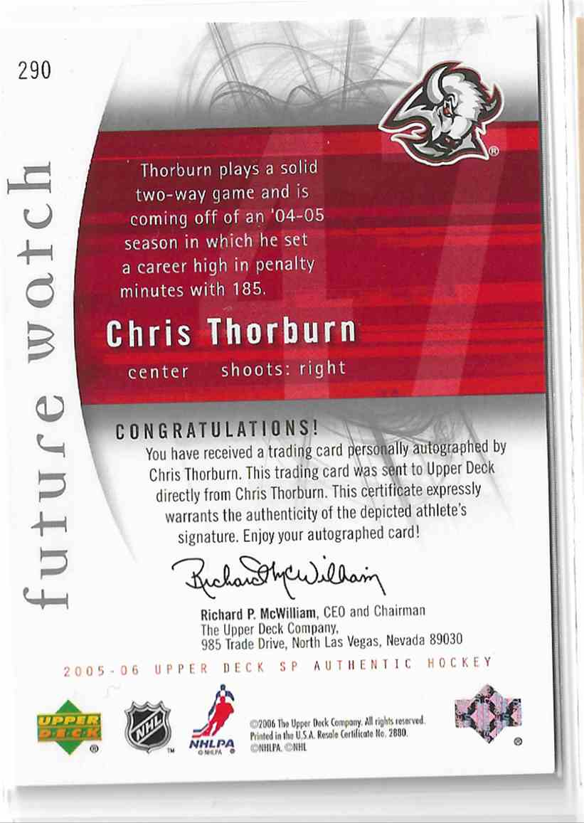 2005-06 SP Authentic Chris Thorburn #290 card back image