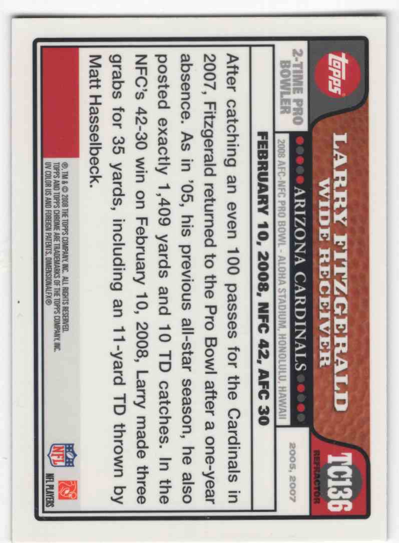 2008 Topps Chrome Refractor Larry Fitzgerald #TC136