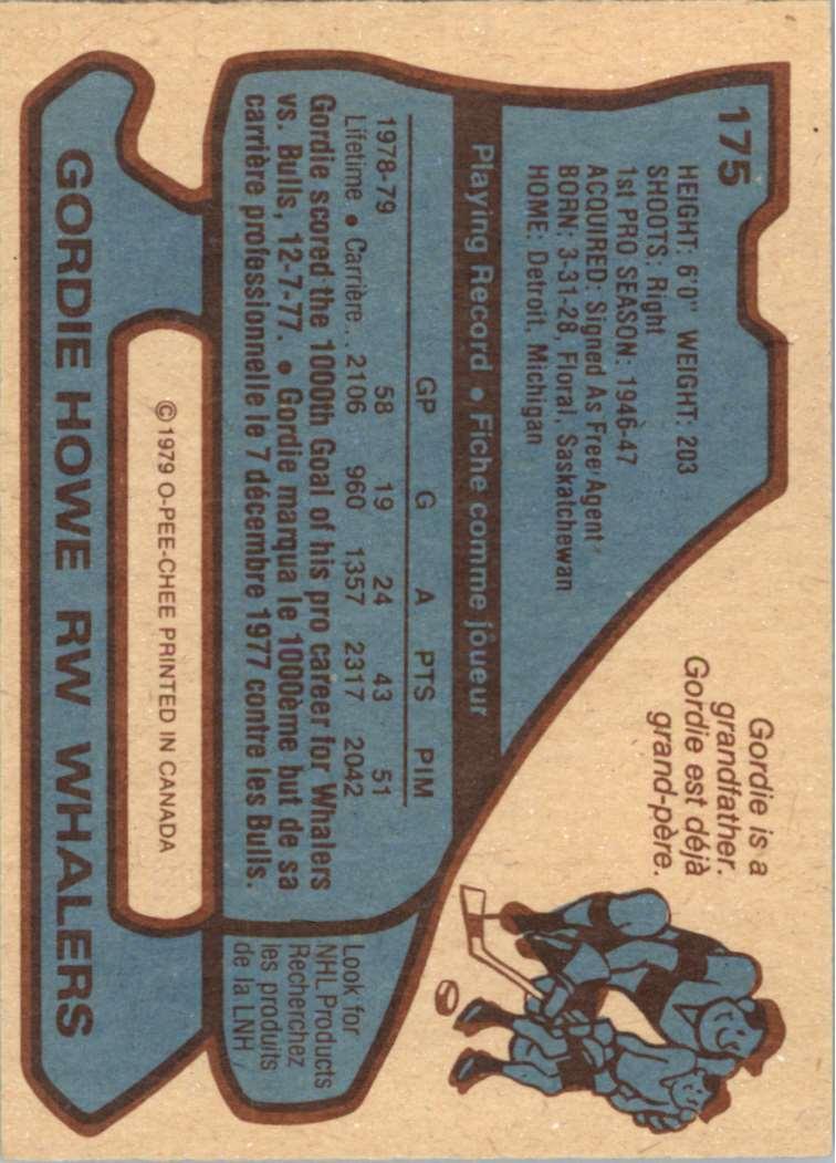 1979-80 OPC Gordie Howe #175 card back image