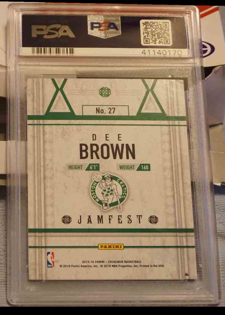 2015-16 Panini Excalibur PSA DNA Dee Brown card back image