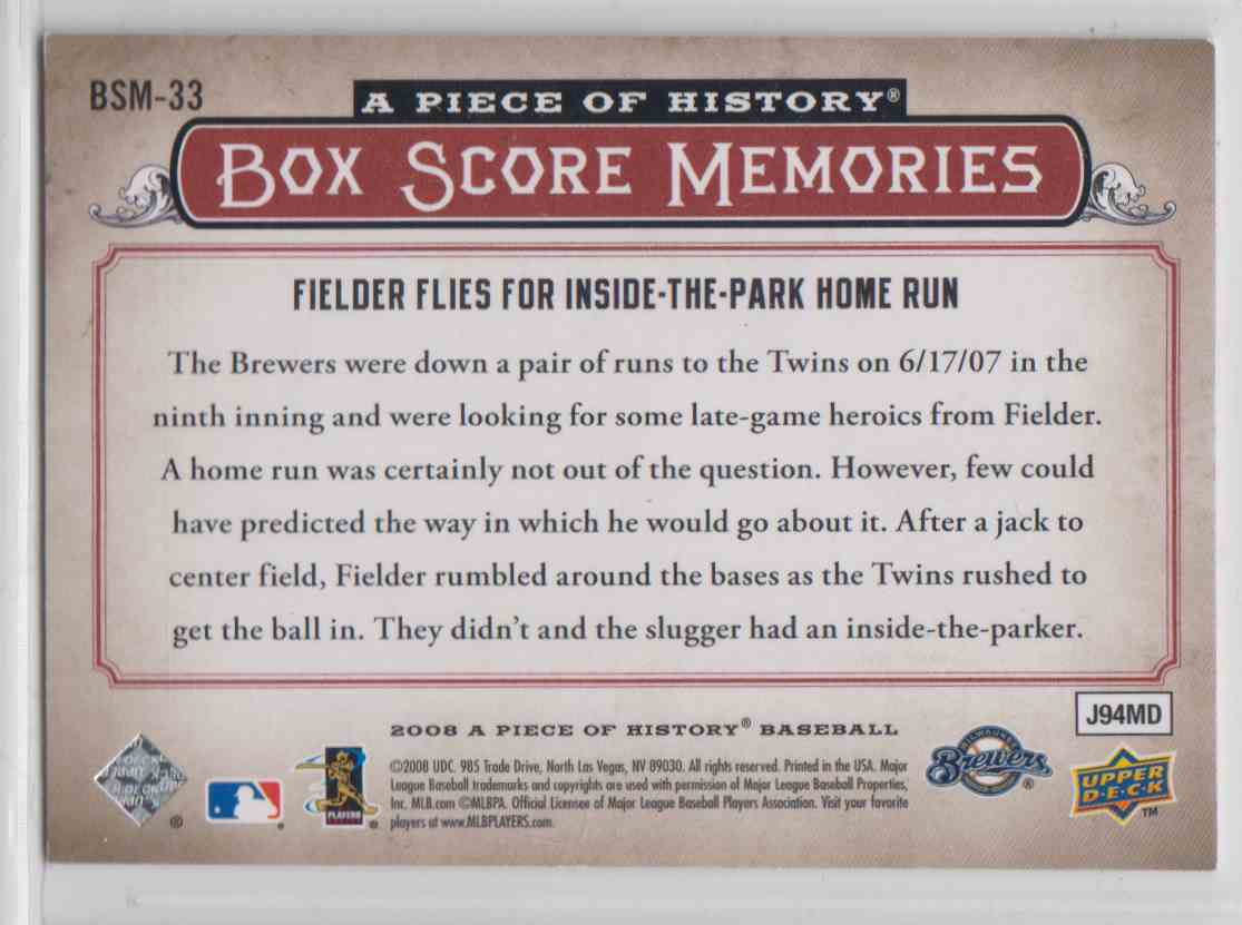 2008 Upper Deck A Piece Of History Box Score Memories Red Prince Fielder #BSM-33 card back image