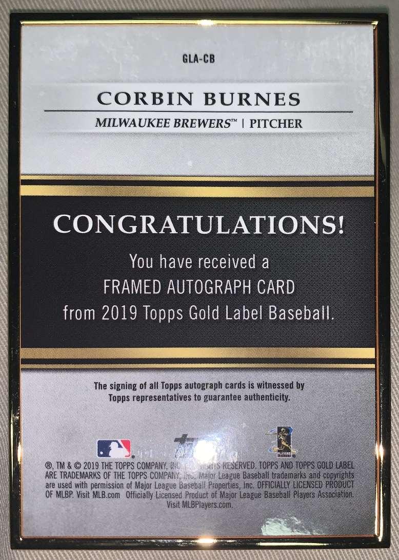 2019 Topps Gold Label Framed Burnes, Corbin #GLA-CB card back image