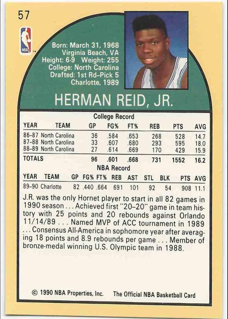 """1990-91 NBA Hoops J.R. """"Herman"""" Reid #57 card back image"""