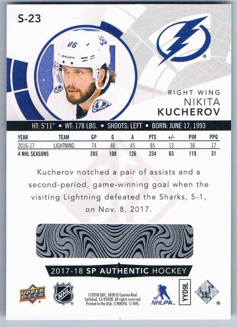 f7e101c5c Real card back image 2017-18 SP Authentic Spectrum Fx Nikita Kucherov #S-23  card back image