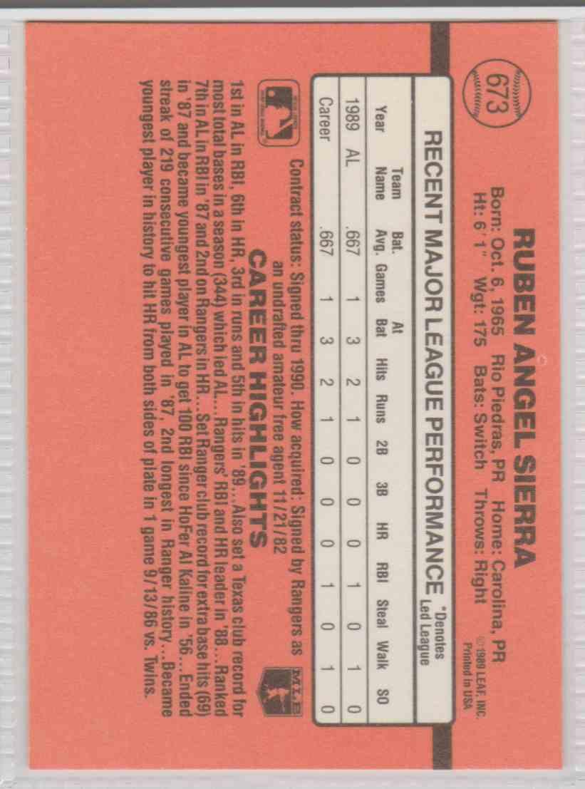 1990 Donruss Ruben Sierra #673 card back image