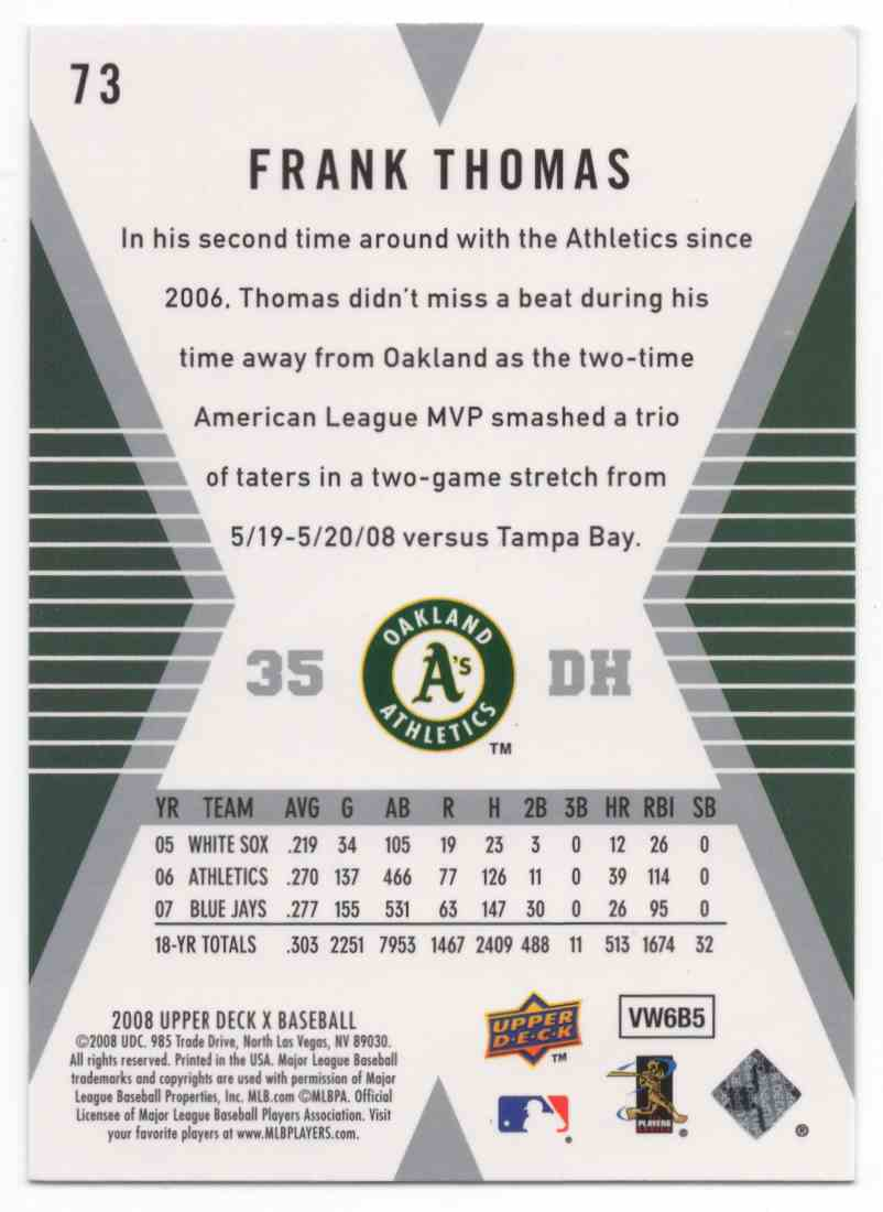 2008 Upper Deck X Frank Thomas #73 card back image