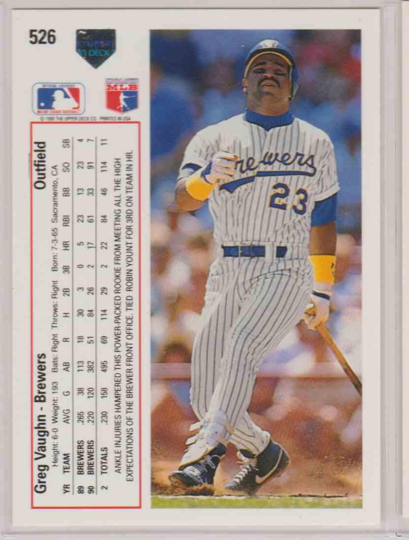 1991 Upper Deck Base Greg Vaughn #526 card back image