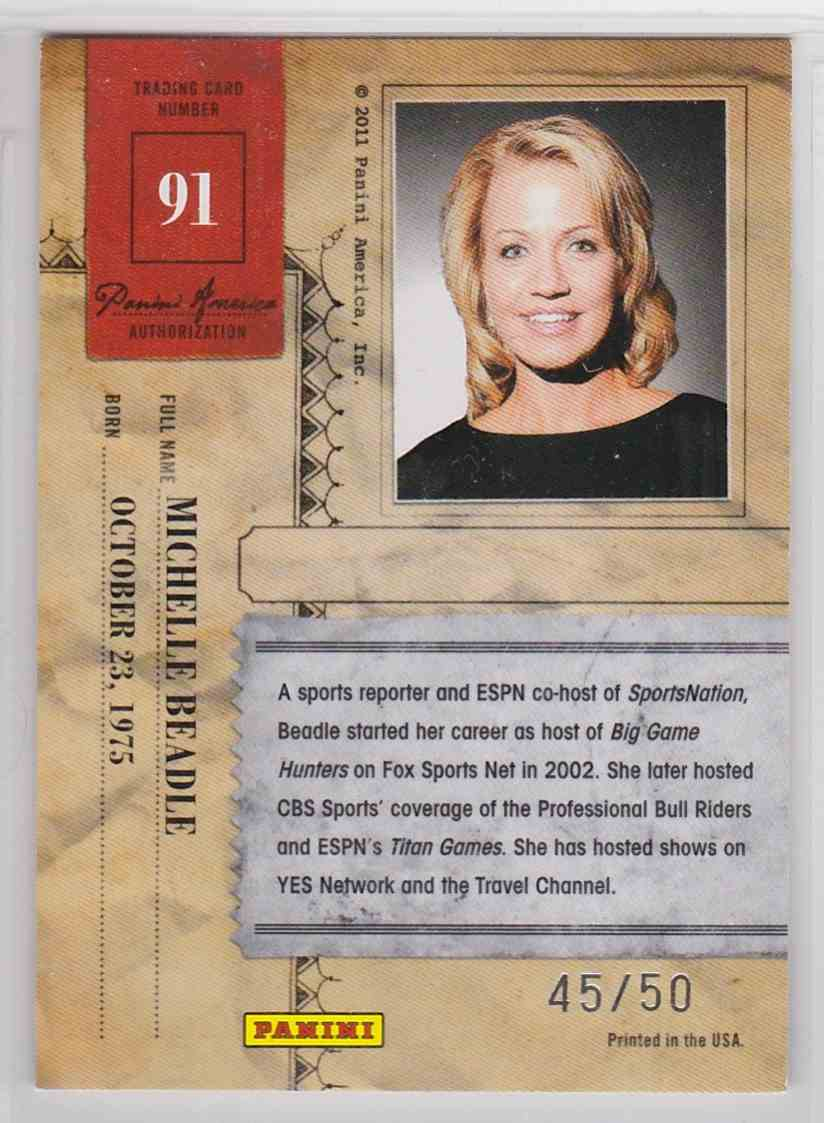 2011 Panini Americana Gold Proofs Michelle Beadle #91 card back image
