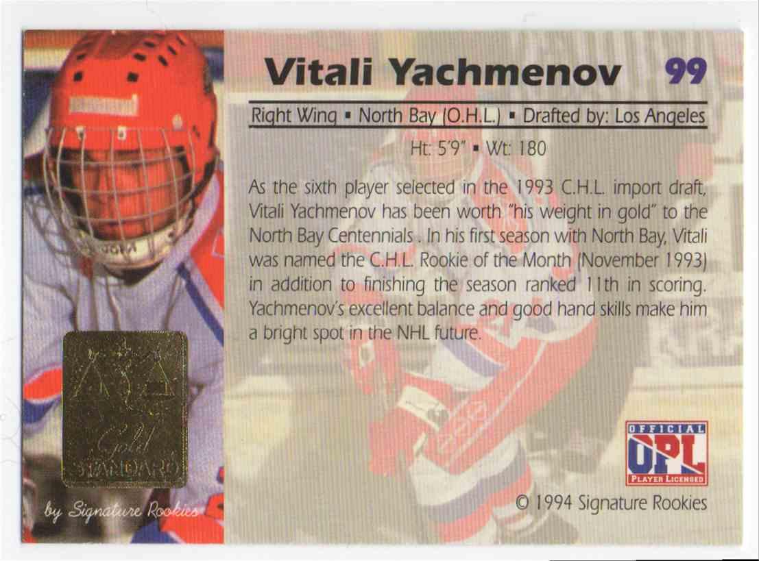1994-95 Signature Rookies Gold Standard Vitali Yachmenov #99 card back image