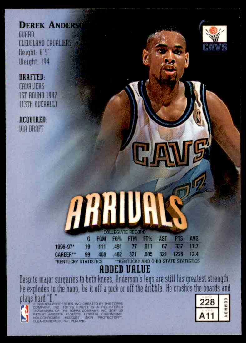 1997-98 Topps Finest Arrivals Derek Anderson #228 card back image