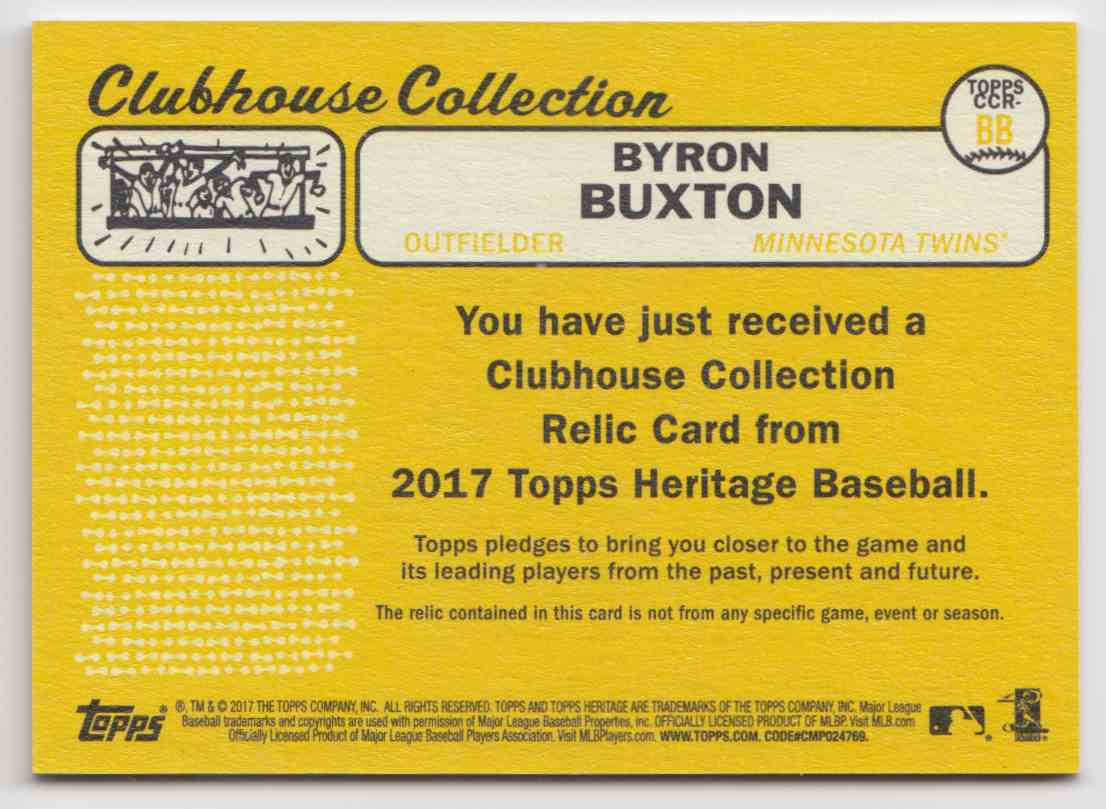 2017 Topps Heritage High Clubhouse Collection Relics Byron Buxton #CCR-BB card back image