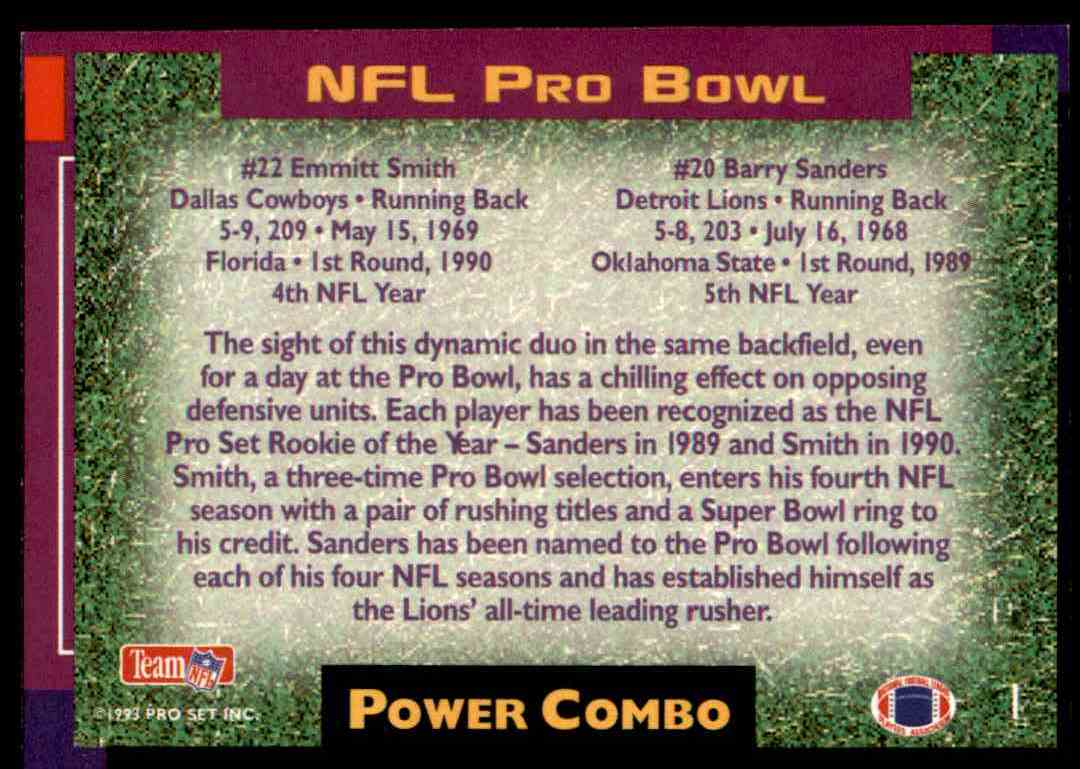 1993 Pro Set Power Combo NFL Pro Bowl Emmitt Smith Barry Sanders card back image