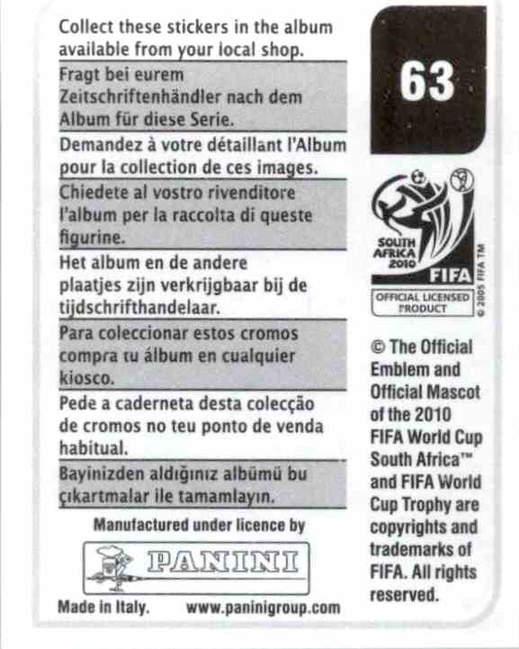 97cd57503 Real card back image 2010 Panini Fifa World Cup South Africa Album Stickers  Base Blanco #63 card back image