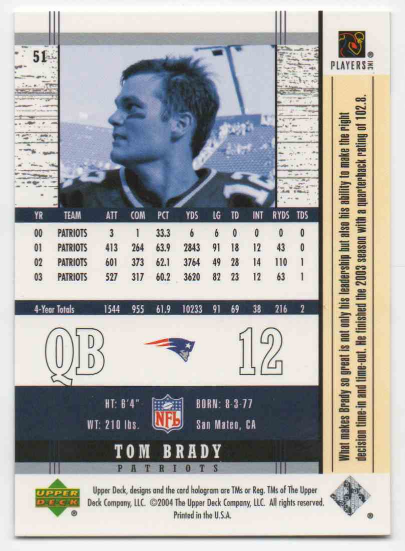 2004 Upper Deck Tom Brady #51 card back image