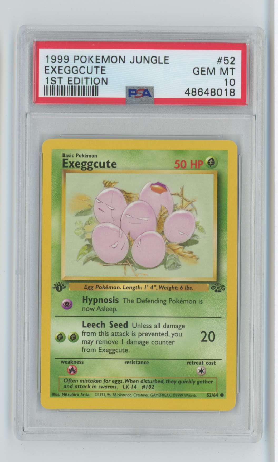1999 Pokemon Jungle 1st Edition Exeggcute #52 card front image