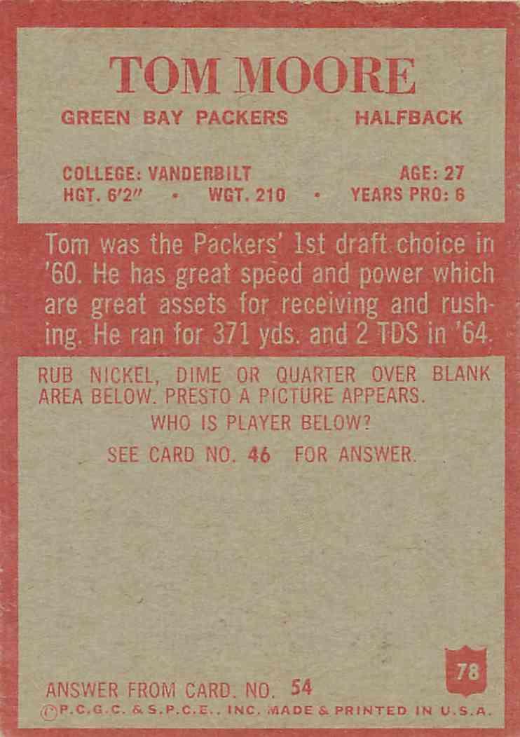 1965 Philadelphia Tom Moore #78 card back image