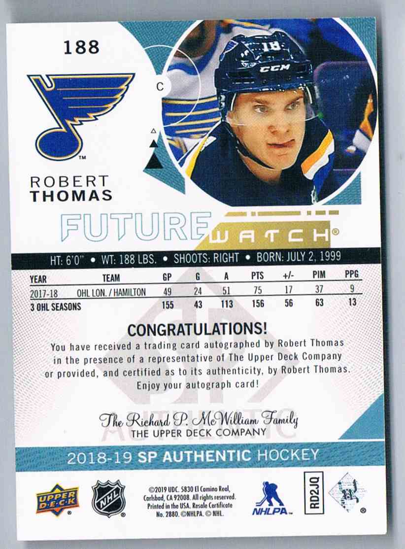 2018-19 SP Authentic Future Watch Robert Thomas #188 card back image