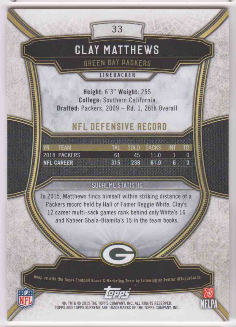 2015 Topps Supreme Copper Clay Matthews #33 card back image