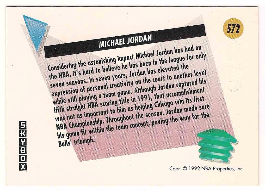 1991-92 Skybox Salutes Michael Jordan #572 card back image
