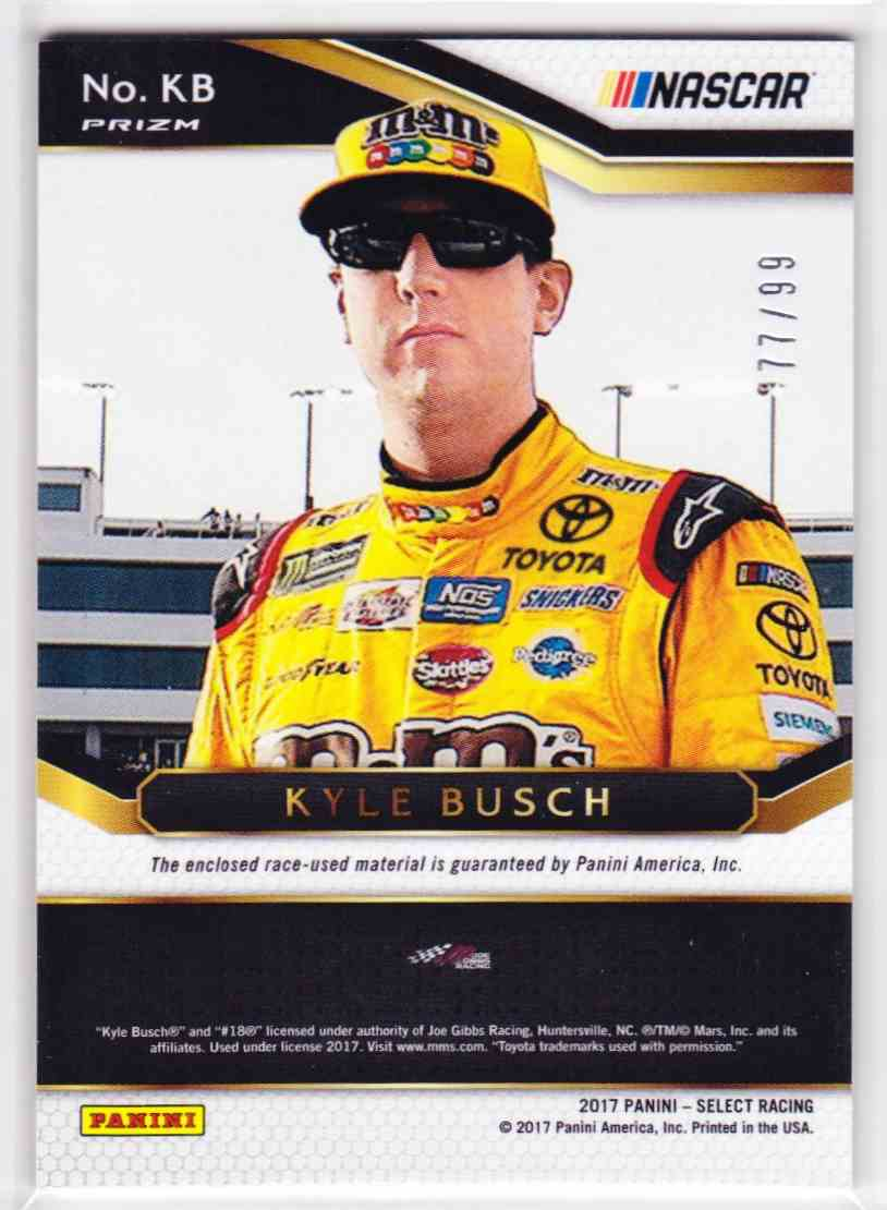 2017 Select Select Swatches Prizms Red Kyle Busch #KB card back image