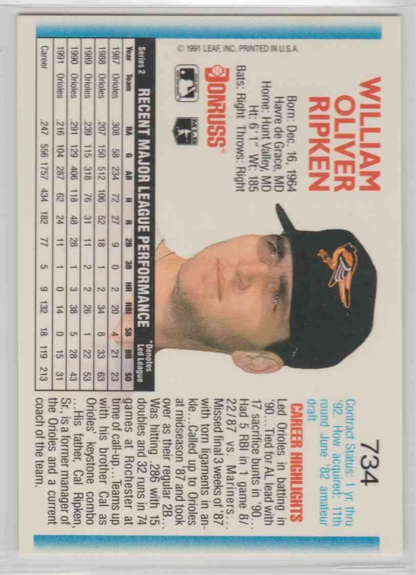 1992 Donruss Base Billy Ripken #734 card back image