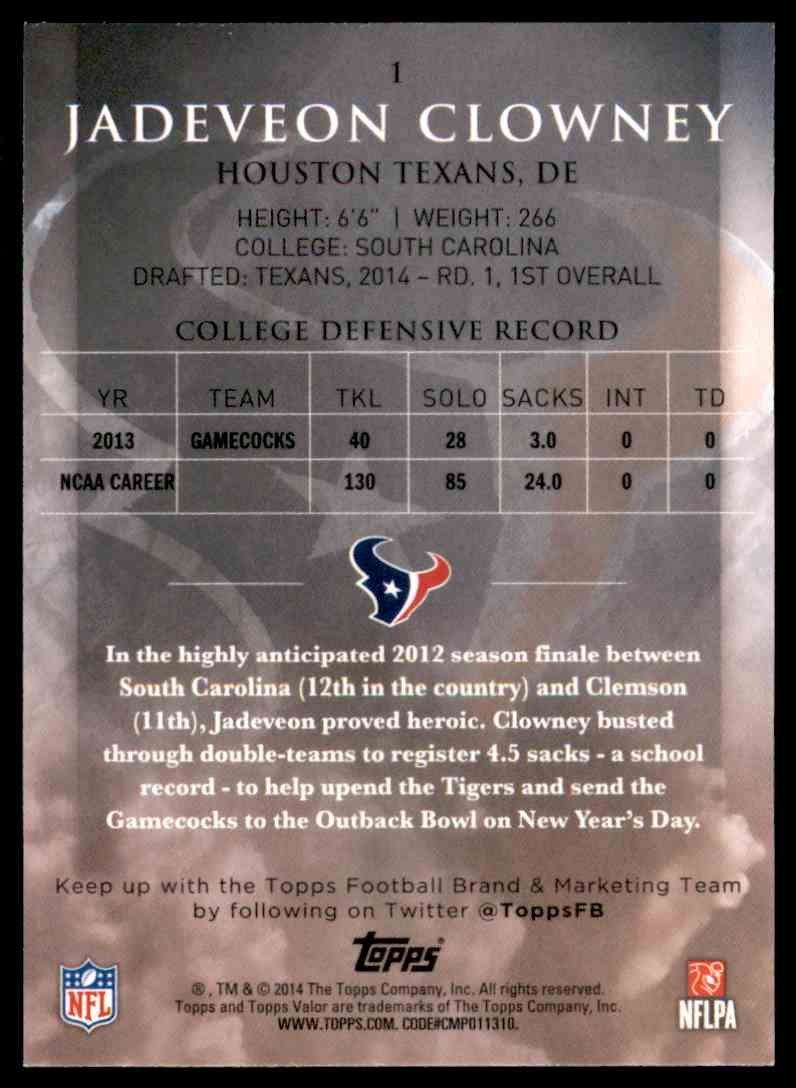 2014 Topps Valor Jadeveon Clowney RC #1 card back image
