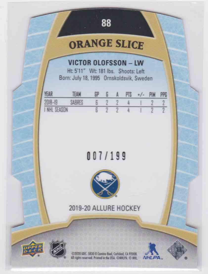 2019-20 Upper Deck Hockey Allure Victor Olofsson - Orange Slice #88 card back image