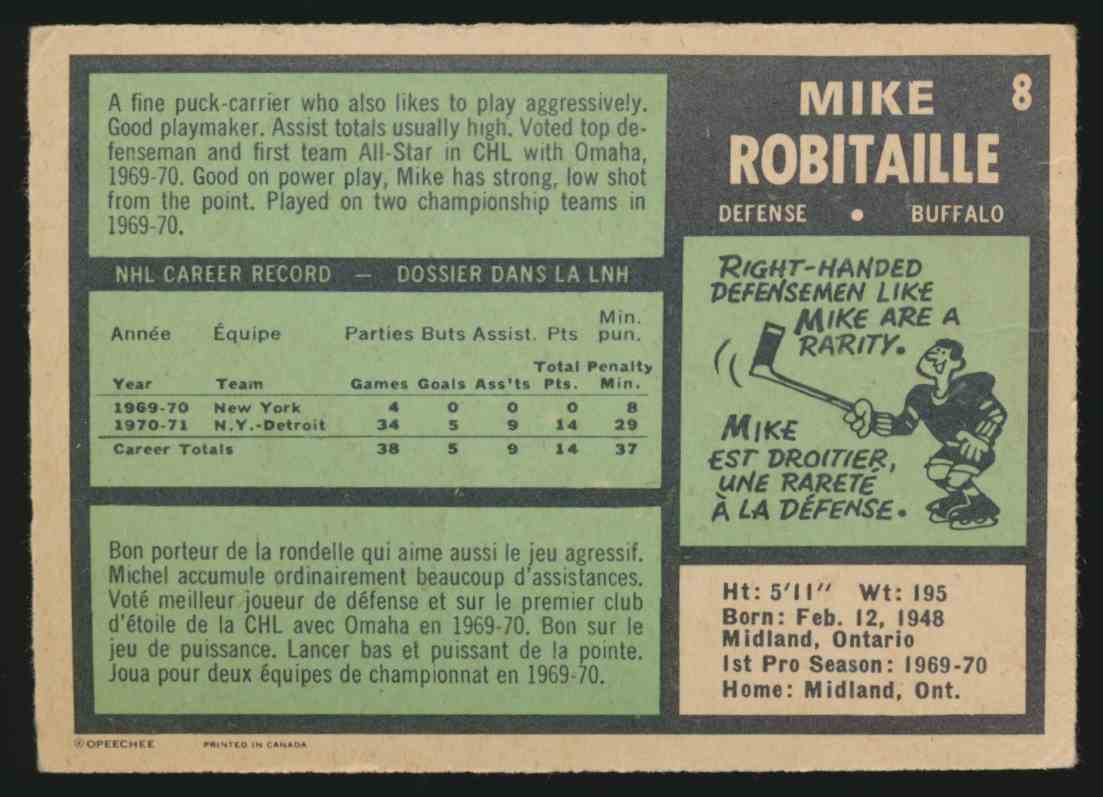 1971-72 O-Pee-Chee Mike Robitaille #8 card back image