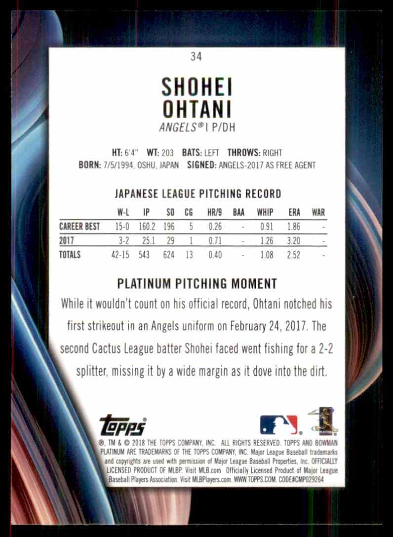 2018 Bowman Platinum Shohei Ohtani #34 card back image