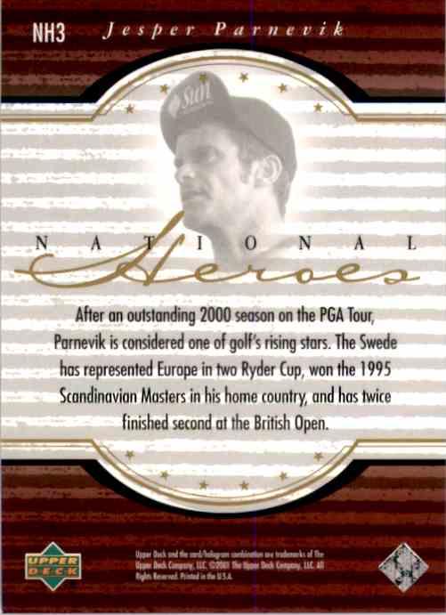 2001 Upper Deck National Heroes Jesper Parnevik #NH3 card back image