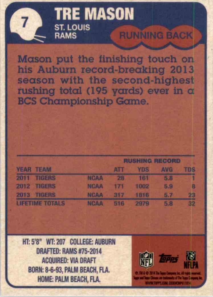 2014 Topps Chrome 1985 Tre Mason #7 card back image