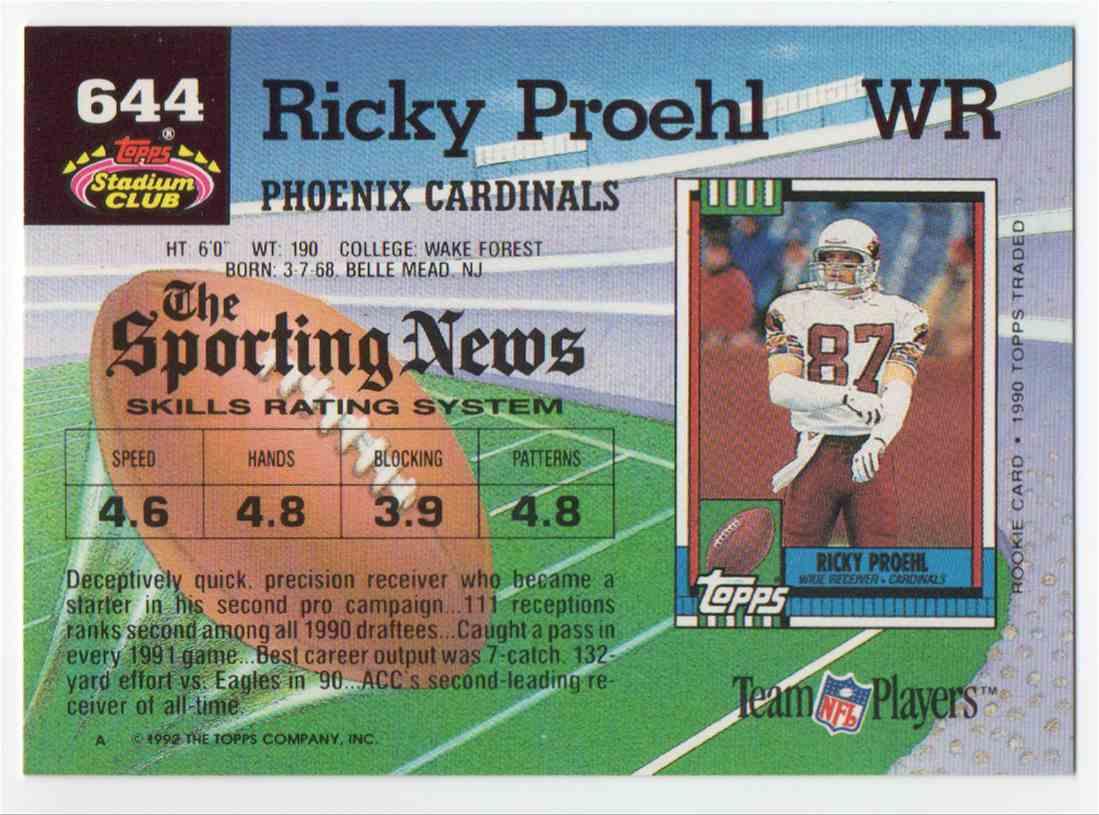1992 Stadium Club Ricky Proehl #644 card back image
