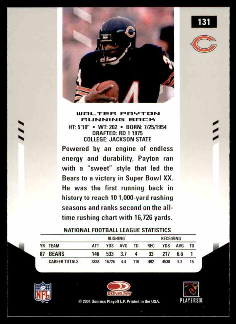 2004 Donruss Leaf Rookies And Stars Walter Payton 131 On