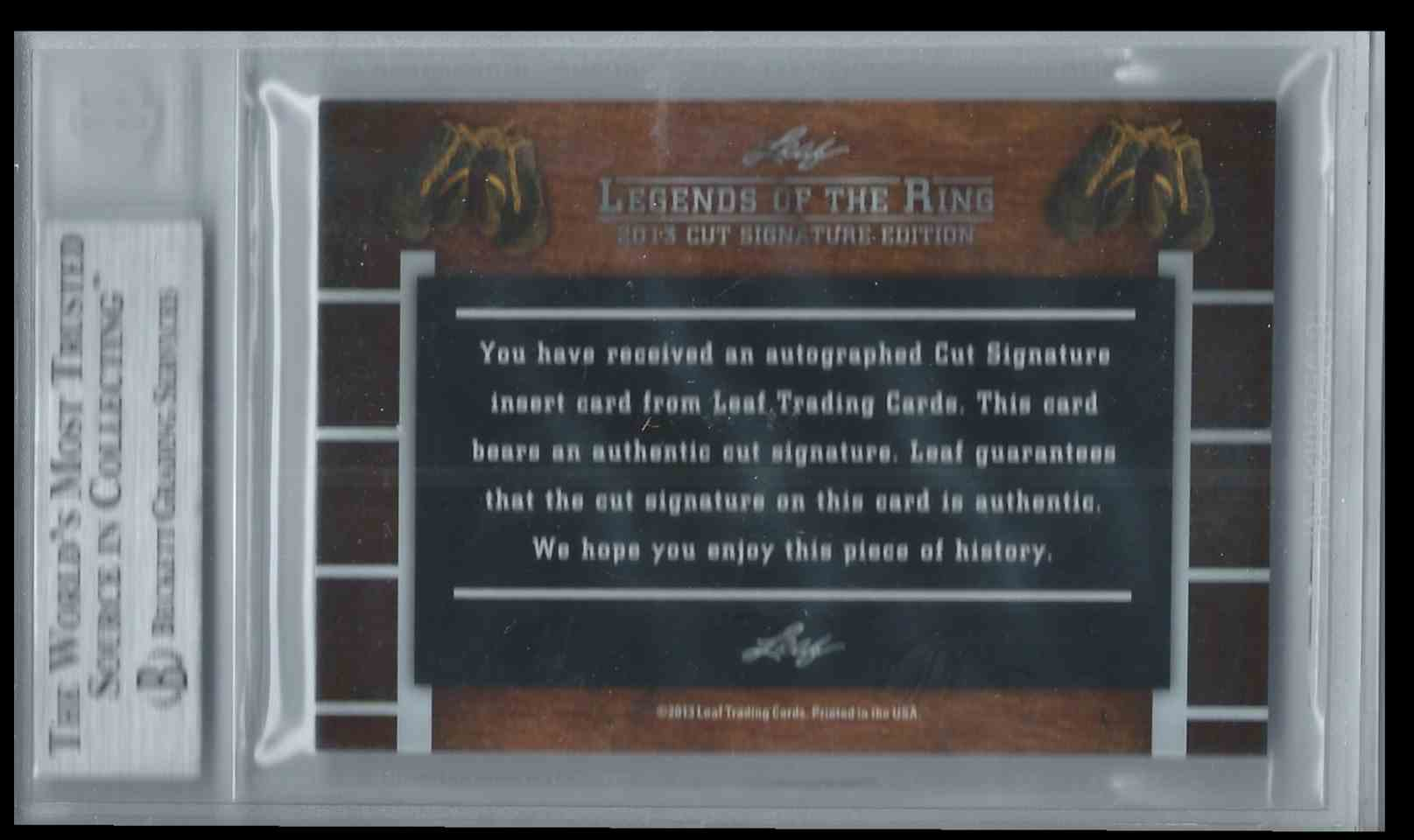 2013 Leaf Legends Of The Ring Cut Signature Edition Boxing Hall Of Fame Beau Jack #CUTBJ card back image