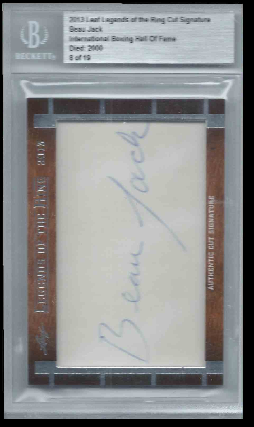 2013 Leaf Legends Of The Ring Cut Signature Edition Boxing Hall Of Fame Beau Jack #CUTBJ card front image