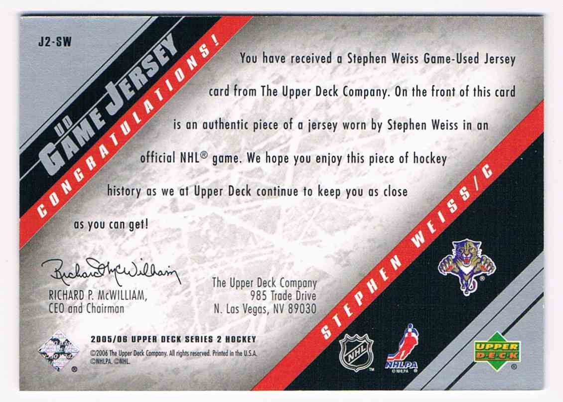 2005-06 Upper Deck UD Game Jersey Stephen Weiss #J2-SW card back image