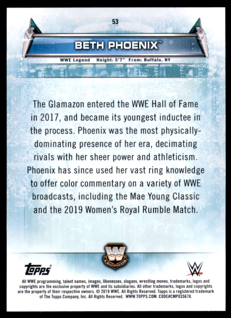 2019 Topps Wwe Women's Division Beth Phoenix #53 card back image