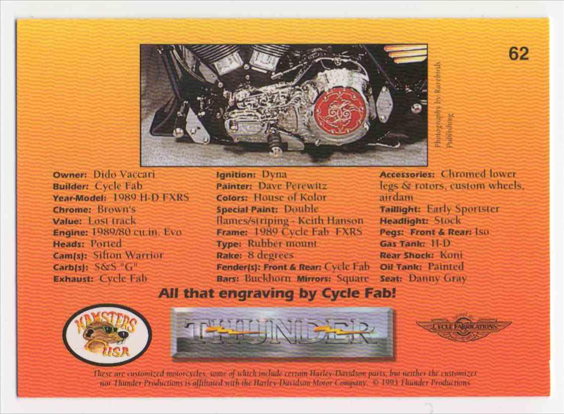 1993 Thunder 1989 H-D Fxrs #62 card back image