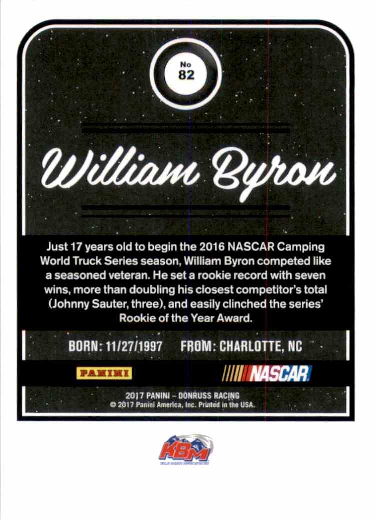 2017 Donruss Gold Foil William Byron #82 card back image