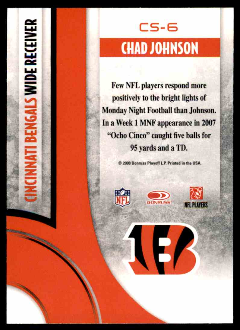 2008 Donruss Threads Century Stars Chad Johnson #CS-6 card back image