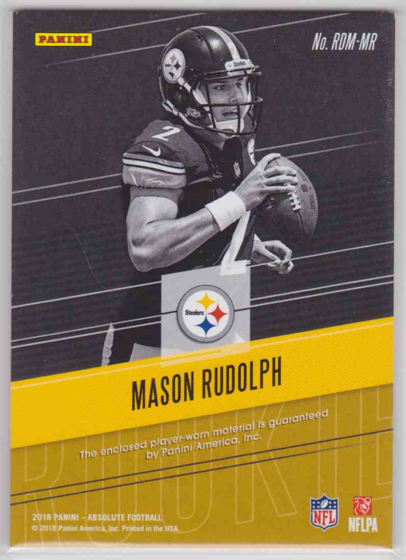 2018 Absolute Rookie Dual Memorabilia Mason Rudolph #RDM-MR card back image