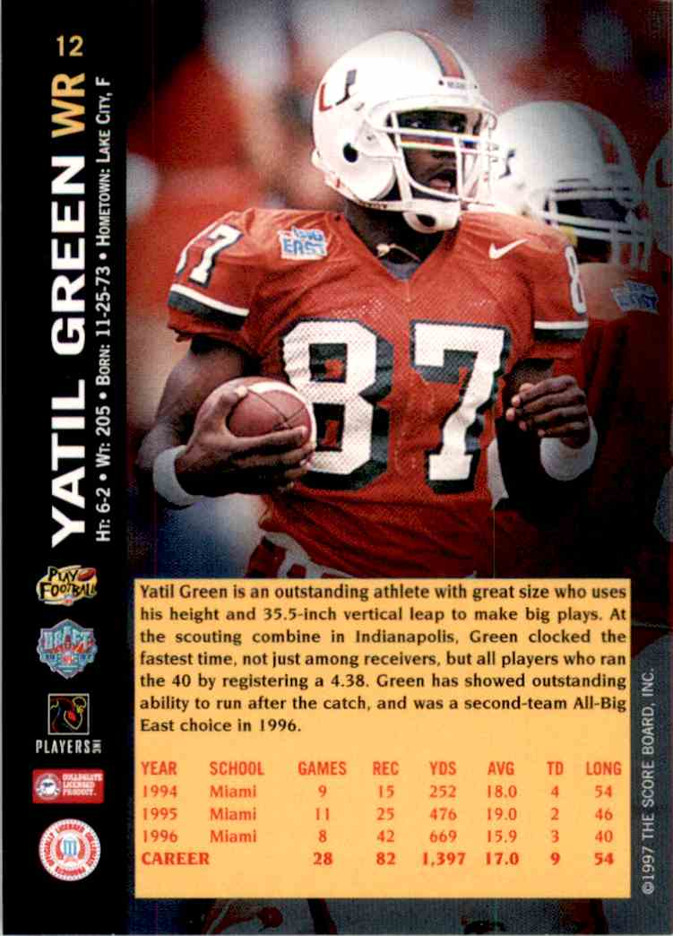 1997 Score Board NFL Rookies Yatil Green #12 card back image
