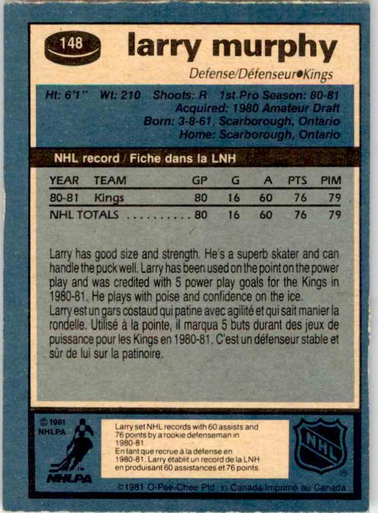 1981-82 O-Pee-Chee Larry Murphy #148 card back image