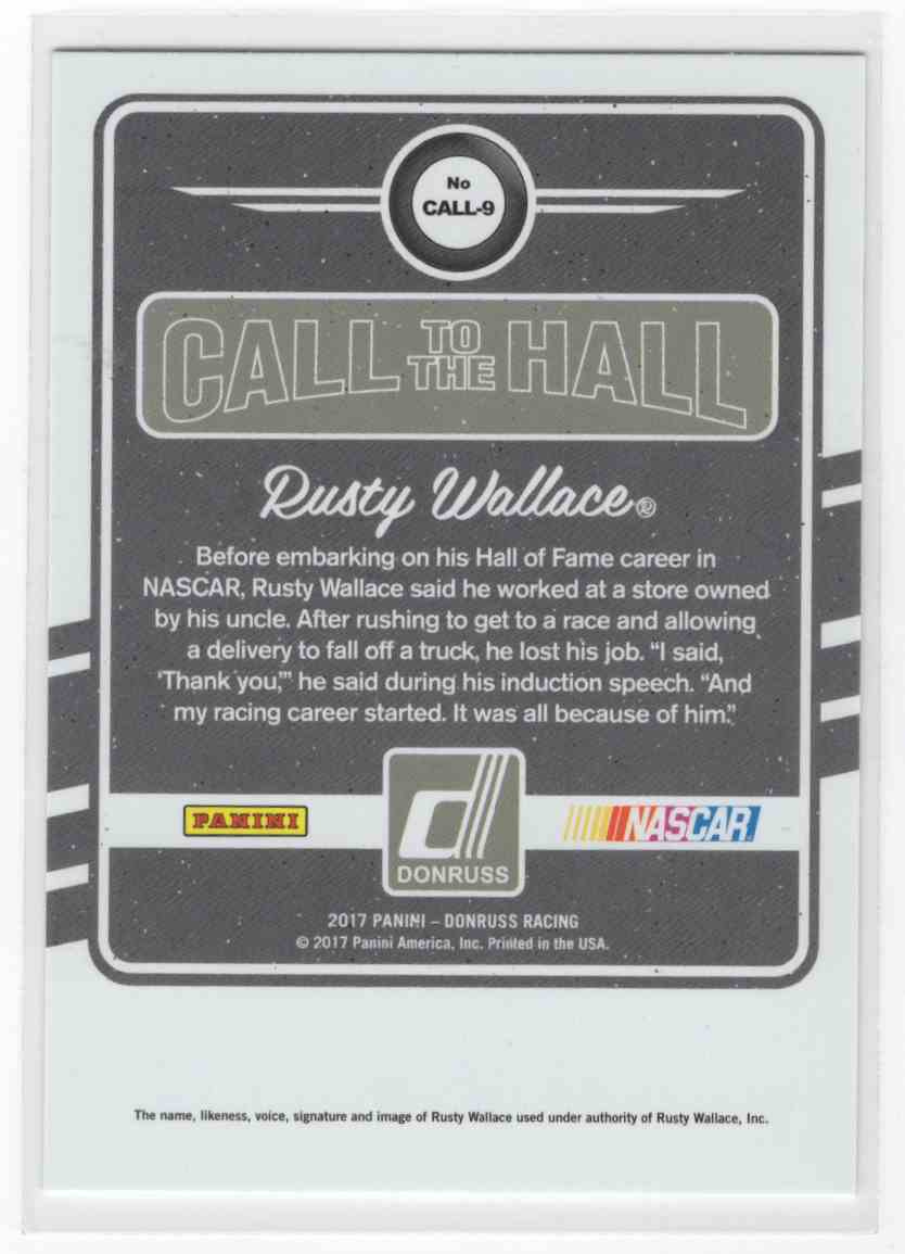 2017 Panini Donruss Racing Rusty Wallace #CALL-9 card back image