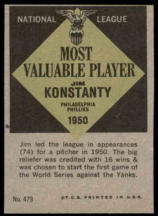 1961 Topps Jim Konstanty MVP #479 card back image