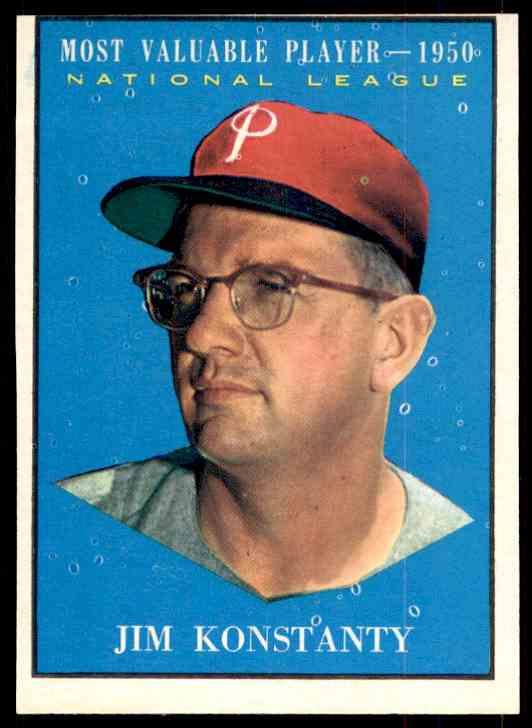 1961 Topps Jim Konstanty MVP #479 card front image