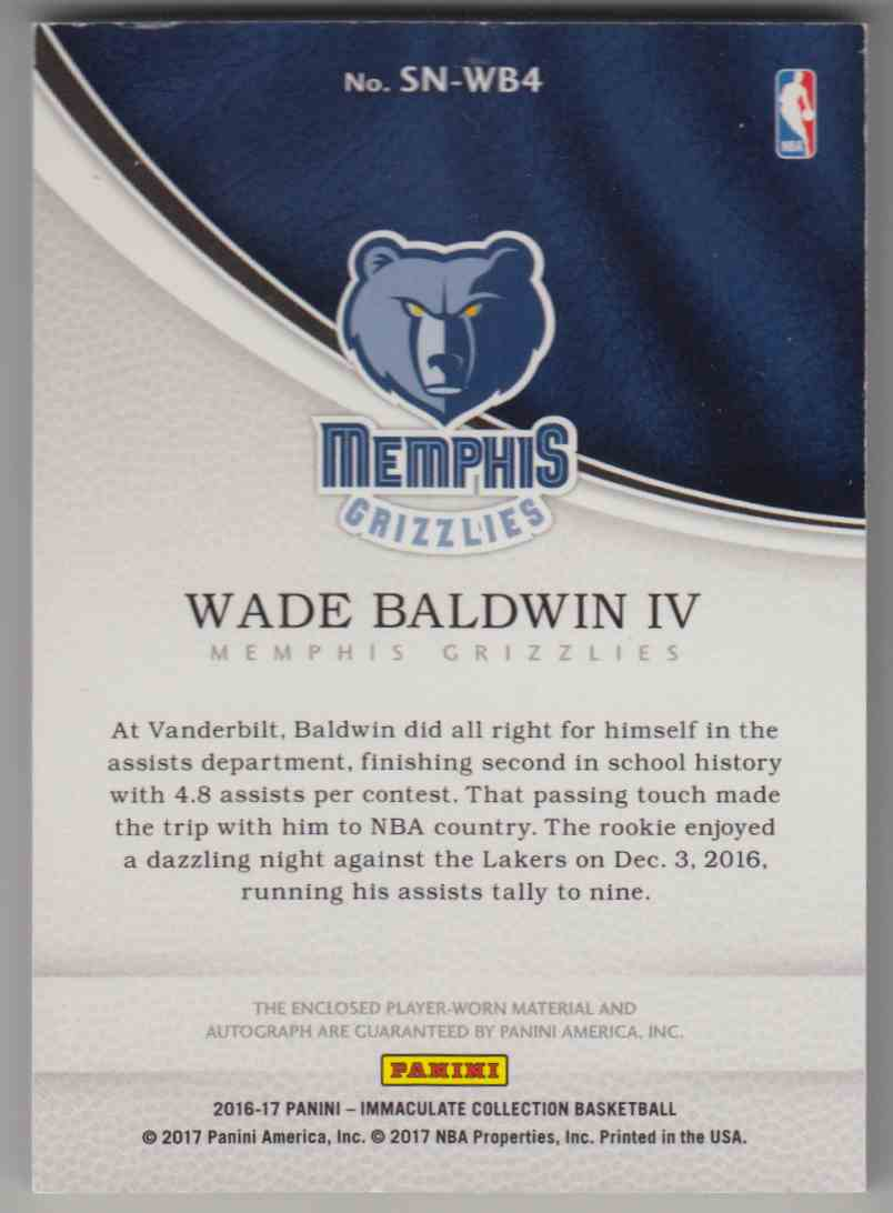 2016-17 Panini Immaculate Collection Sneaker Swatch Signatures Wade Baldwin IV #SM-WB4 card back image