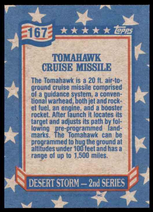 1991 Desert Storm Topps Tomahawk Cruise Missile #167 card back image